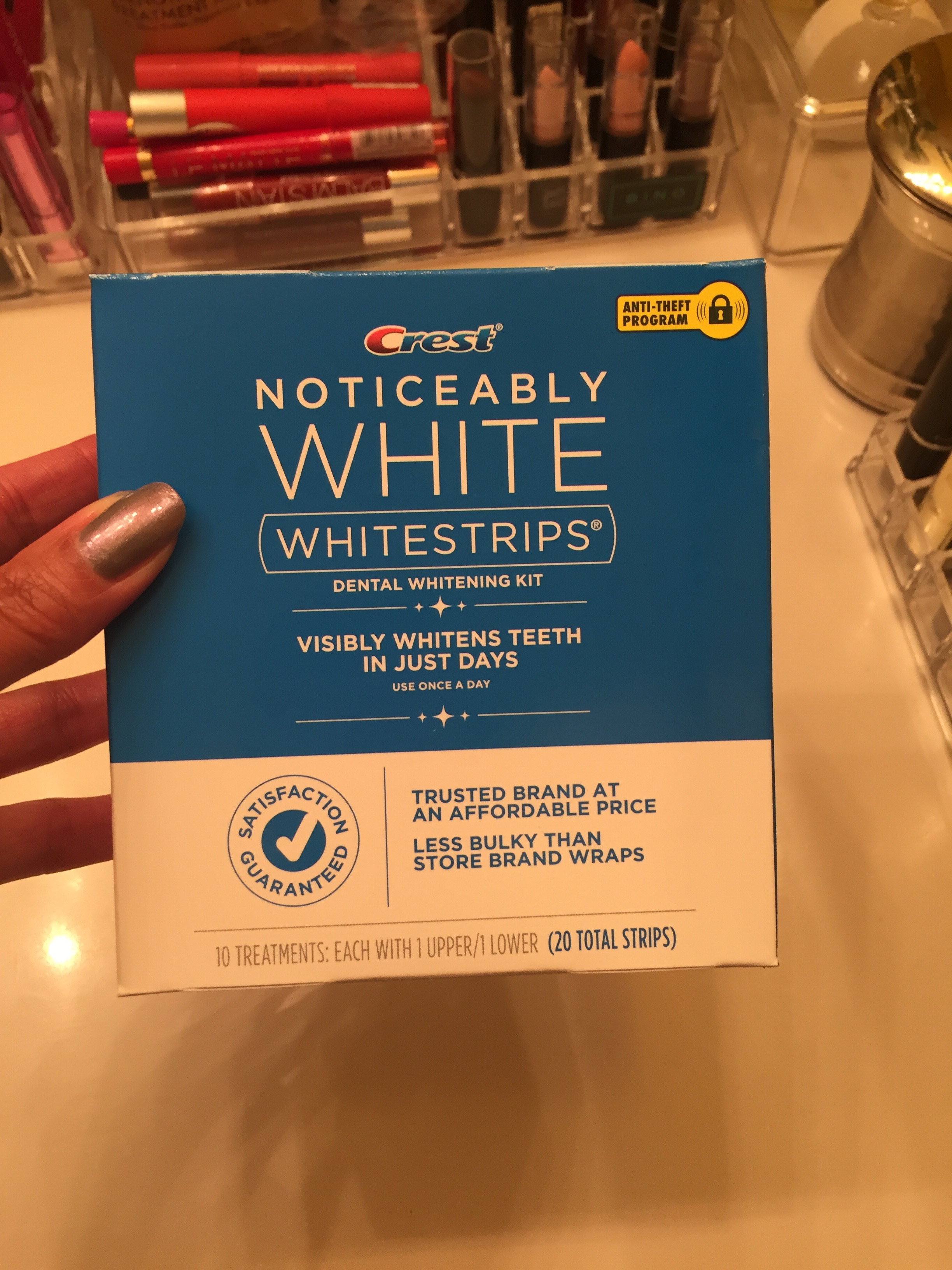 Empty box report Crest noticeably white whitestrips Being Kindra